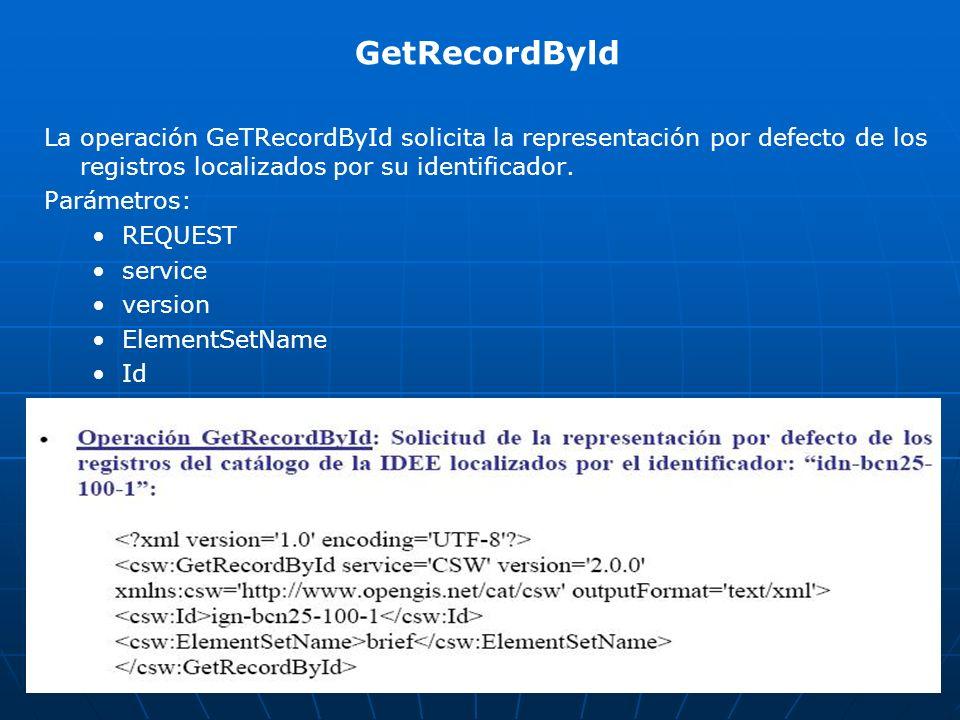 GetRecordByld La operación GeTRecordById solicita la representación por defecto de los registros localizados por su identificador. Parámetros: REQUEST