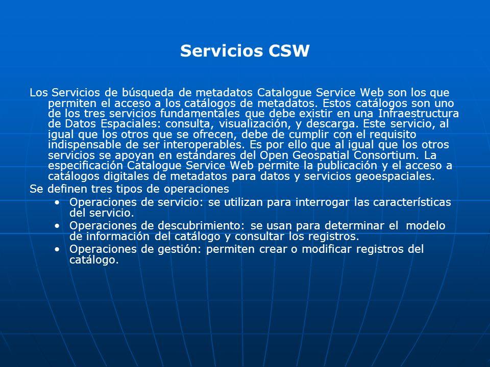 Servicios CSW Los Servicios de búsqueda de metadatos Catalogue Service Web son los que permiten el acceso a los catálogos de metadatos. Estos catálogo
