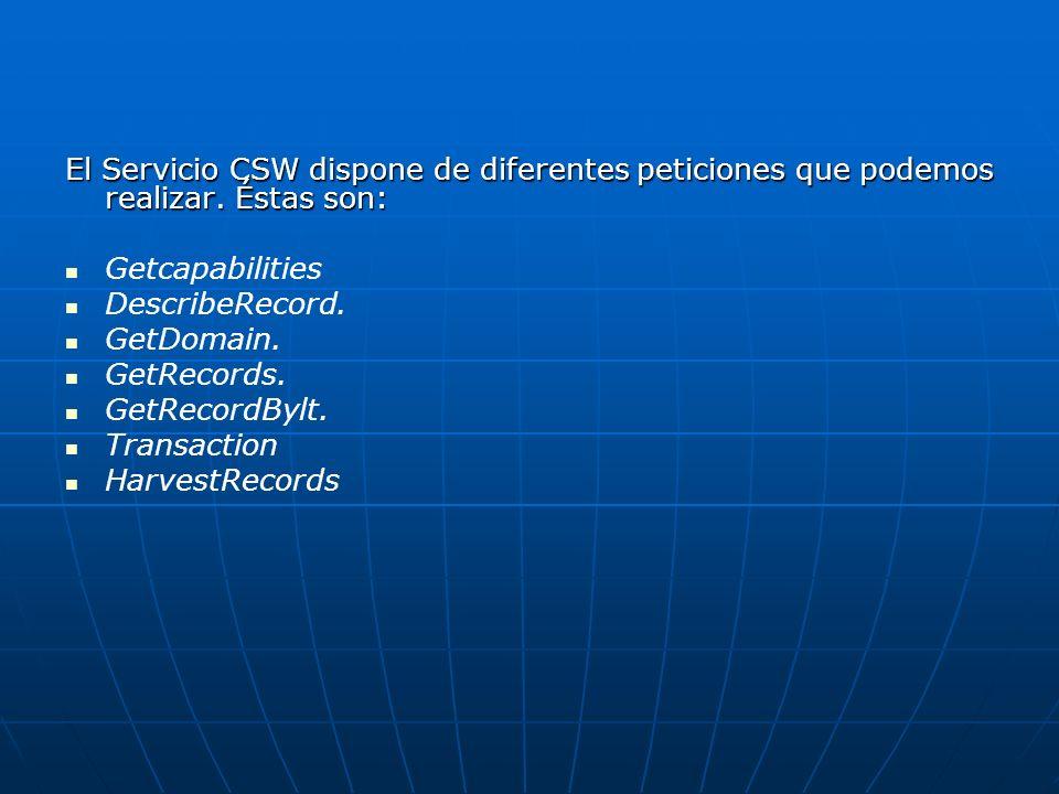 El Servicio CSW dispone de diferentes peticiones que podemos realizar. Éstas son: Getcapabilities DescribeRecord. GetDomain. GetRecords. GetRecordBylt