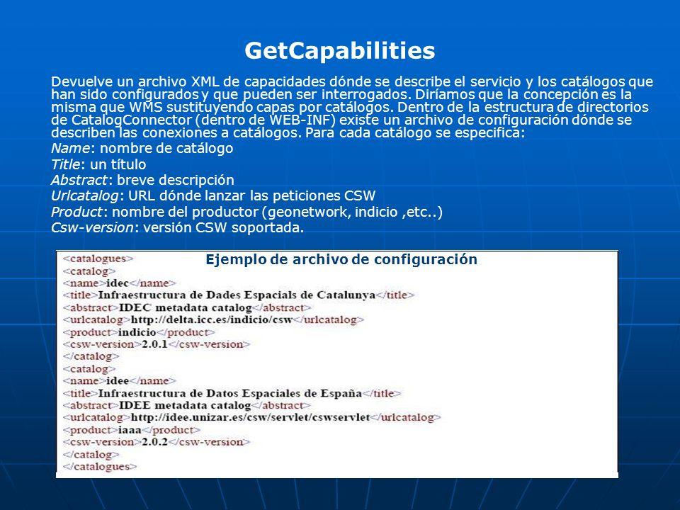 GetCapabilities Devuelve un archivo XML de capacidades dónde se describe el servicio y los catálogos que han sido configurados y que pueden ser interr