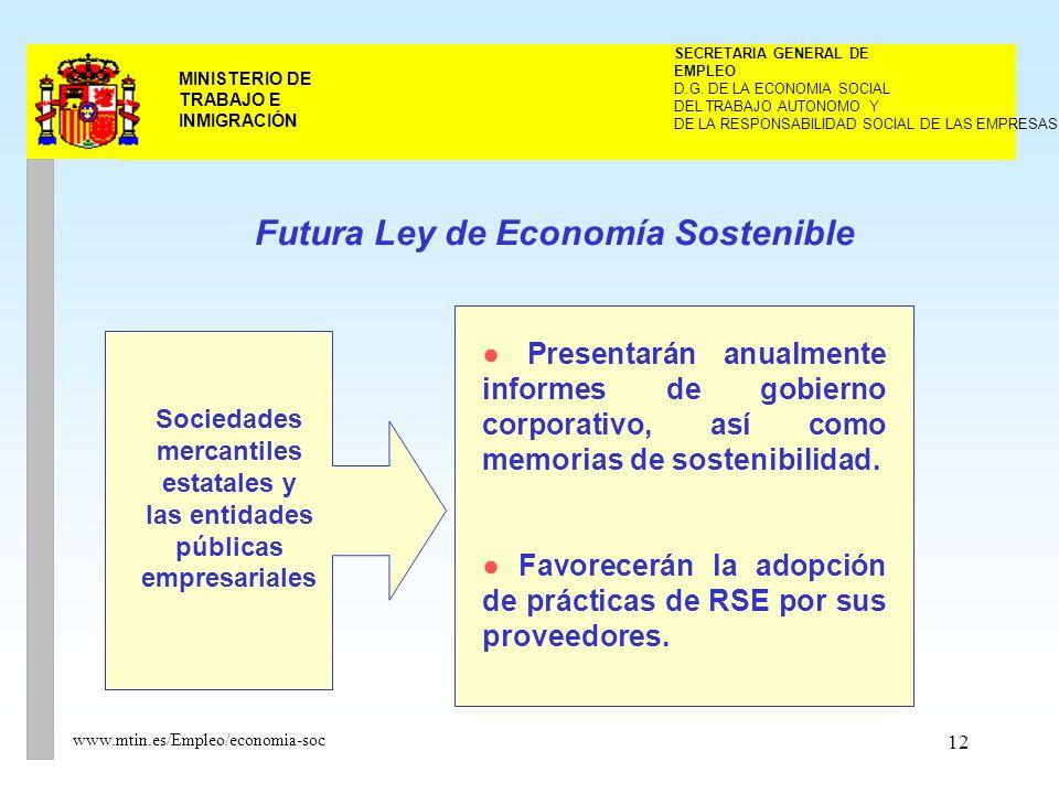 12 MINISTERIO DE TRABAJO E INMIGRACIÓN www.mtin.es/Empleo/economia-soc DEL TRABAJO AUTONOMO Y SECRETARIA GENERAL DE EMPLEO D.G.