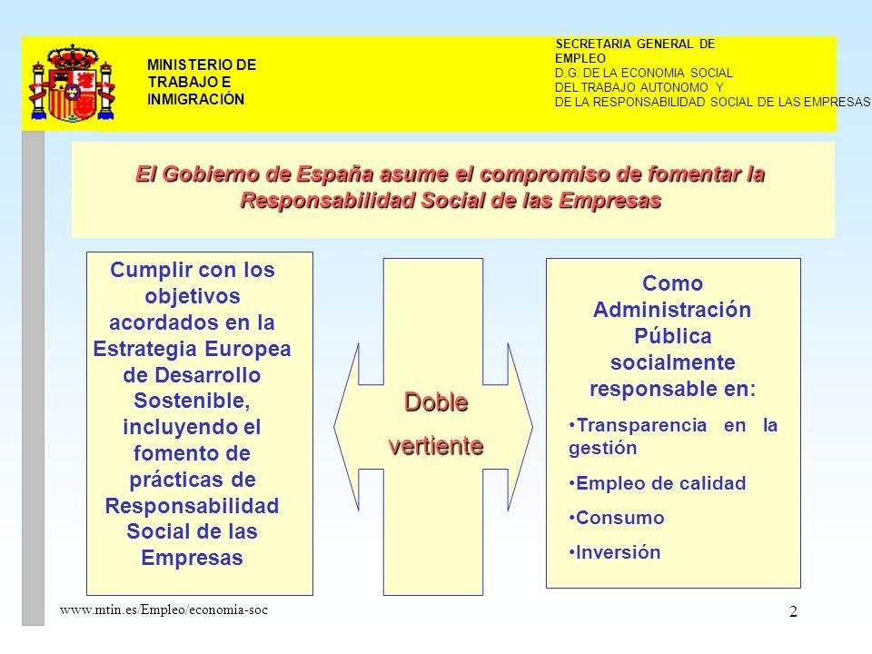 2 MINISTERIO DE TRABAJO E INMIGRACIÓN www.mtin.es/Empleo/economia-soc DEL TRABAJO AUTONOMO Y SECRETARIA GENERAL DE EMPLEO D.G.