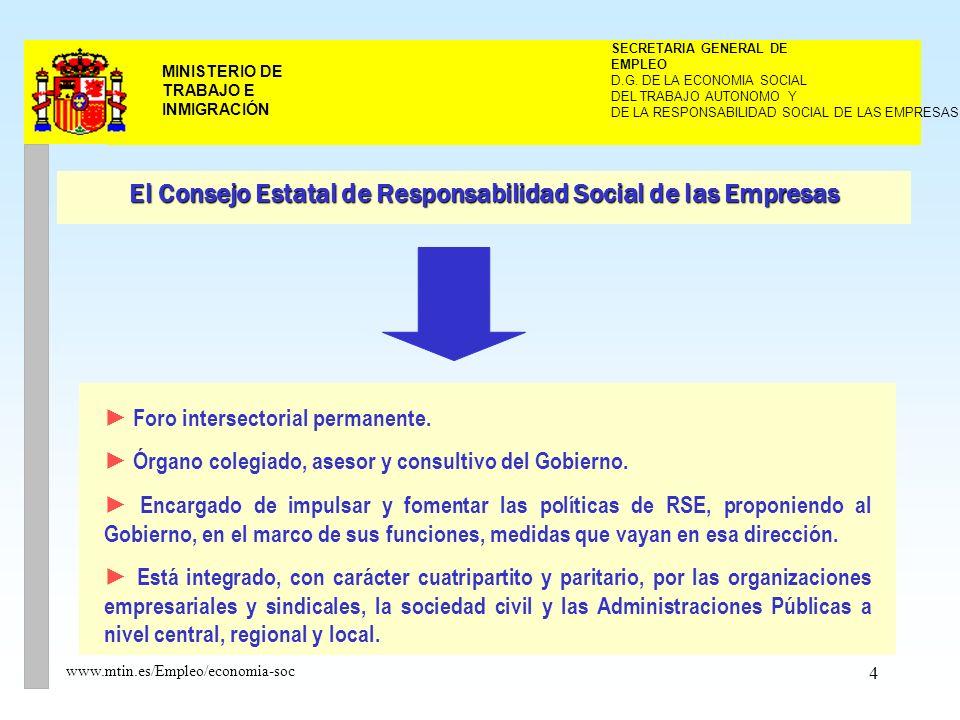 4 MINISTERIO DE TRABAJO E INMIGRACIÓN www.mtin.es/Empleo/economia-soc DEL TRABAJO AUTONOMO Y SECRETARIA GENERAL DE EMPLEO D.G.