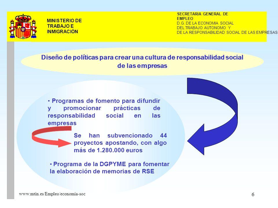 6 MINISTERIO DE TRABAJO E INMIGRACIÓN www.mtin.es/Empleo/economia-soc DEL TRABAJO AUTONOMO Y SECRETARIA GENERAL DE EMPLEO D.G.