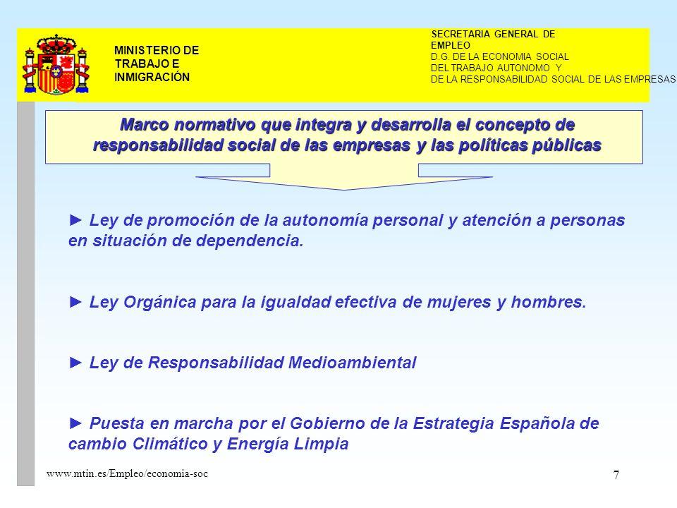 7 MINISTERIO DE TRABAJO E INMIGRACIÓN www.mtin.es/Empleo/economia-soc DEL TRABAJO AUTONOMO Y SECRETARIA GENERAL DE EMPLEO D.G.