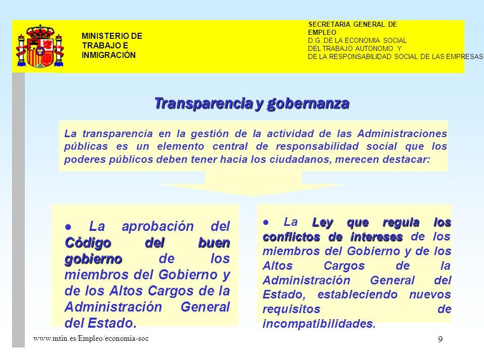 9 MINISTERIO DE TRABAJO E INMIGRACIÓN www.mtin.es/Empleo/economia-soc DEL TRABAJO AUTONOMO Y SECRETARIA GENERAL DE EMPLEO D.G.