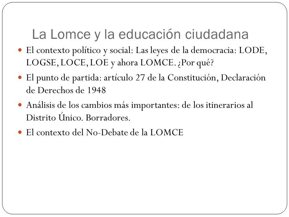 La Constitución y la LOMCE Artículo 27.2 La educación tendrá por objeto el pleno desarrollo de la personalidad humana en el respeto a los principios democráticos de convivencia y a los derechos y libertades fundamentales.