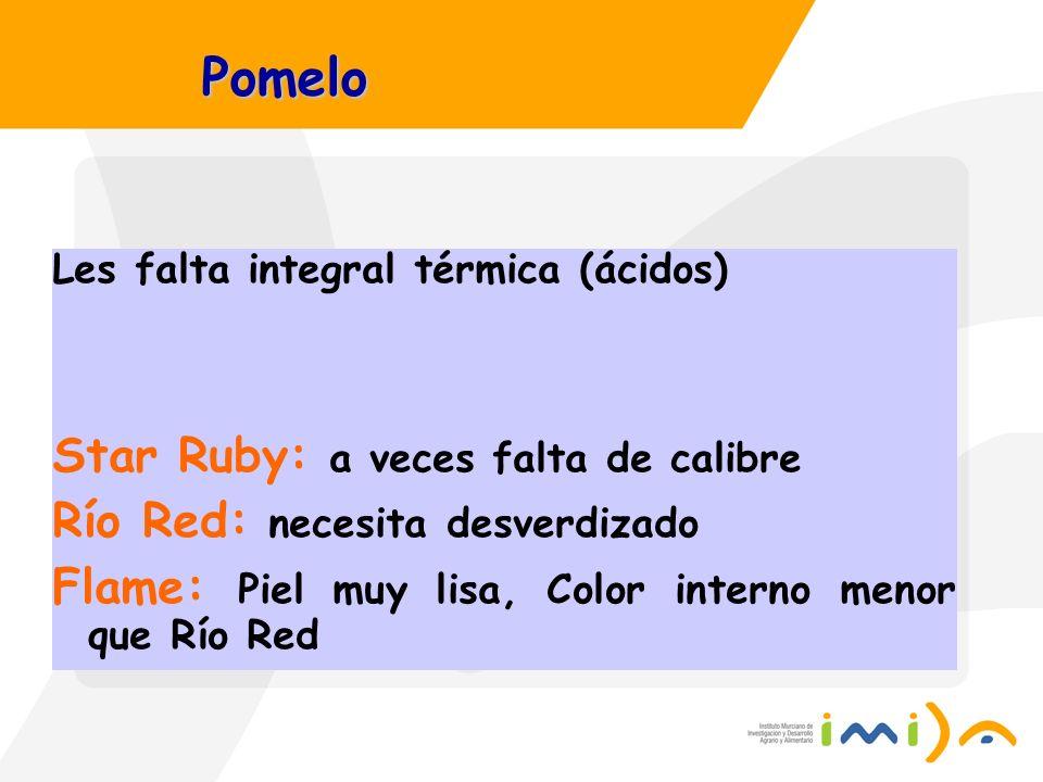 Pomelo Les falta integral térmica (ácidos) Star Ruby: a veces falta de calibre Río Red: necesita desverdizado Flame: Piel muy lisa, Color interno meno
