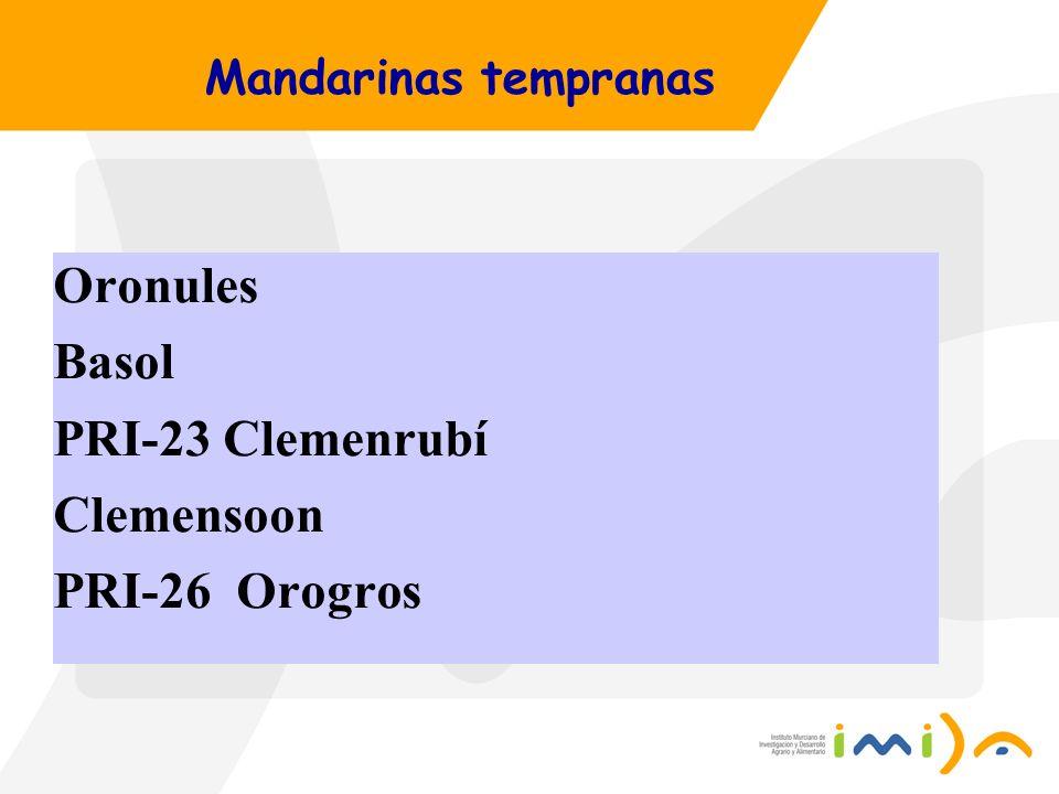 Mandarinas tempranas Oronules Basol PRI-23 Clemenrubí Clemensoon PRI-26 Orogros