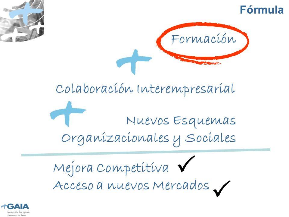 Fórmula Formación Nuevos Esquemas Organizacionales y Sociales Colaboración Interempresarial Mejora Competitiva Acceso a nuevos Mercados