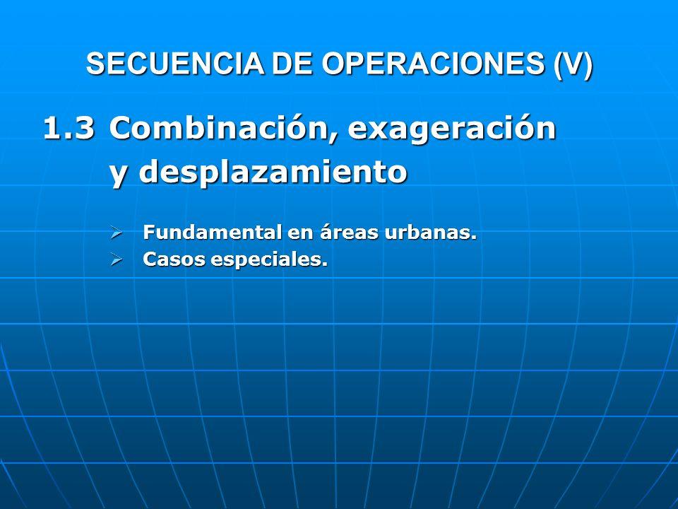 SECUENCIA DE OPERACIONES (V) 1.3Combinación, exageración y desplazamiento Fundamental en áreas urbanas. Fundamental en áreas urbanas. Casos especiales