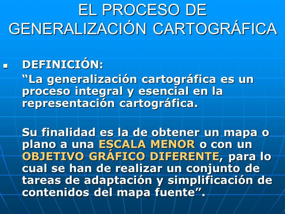 EL PROCESO DE GENERALIZACIÓN CARTOGRÁFICA DEFINICIÓN: DEFINICIÓN: La generalización cartográfica es un proceso integral y esencial en la representació