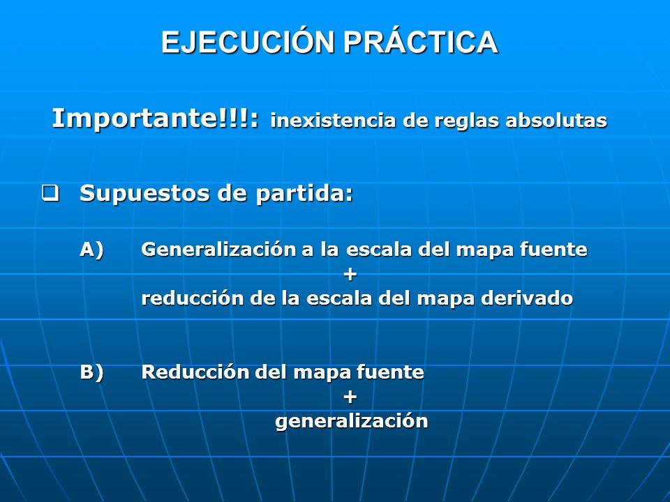 EJECUCIÓN PRÁCTICA Importante!!!: inexistencia de reglas absolutas Supuestos de partida: Supuestos de partida: A)Generalización a la escala del mapa f