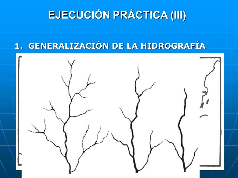 EJECUCIÓN PRÁCTICA (III) 1.GENERALIZACIÓN DE LA HIDROGRAFÍA Generalización mínima, sin desplazamiento. Generalización mínima, sin desplazamiento. Supr