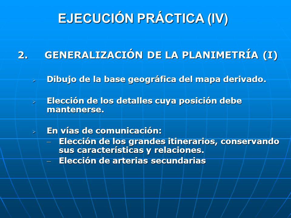EJECUCIÓN PRÁCTICA (IV) 2. GENERALIZACIÓN DE LA PLANIMETRÍA (I) Dibujo de la base geográfica del mapa derivado. Dibujo de la base geográfica del mapa