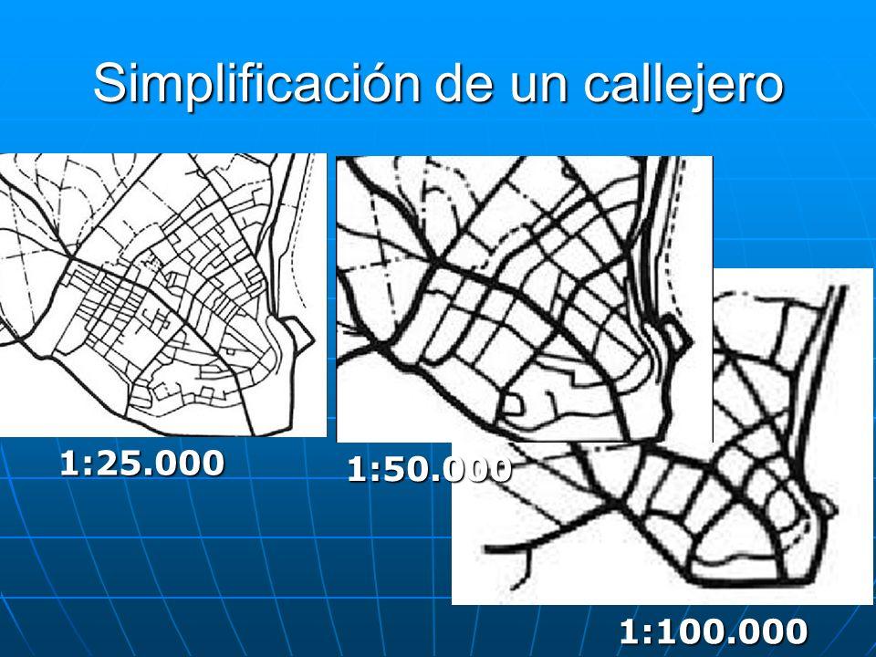 Simplificación de un callejero 1:25.000 1:50.000 1:100.000