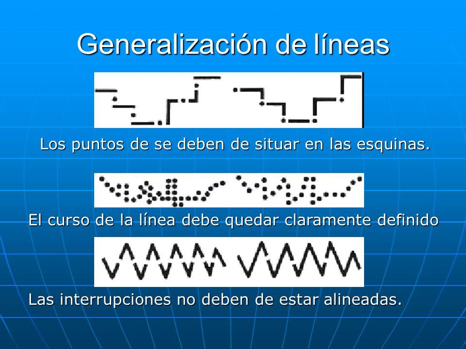 Generalización de líneas Los puntos de se deben de situar en las esquinas. El curso de la línea debe quedar claramente definido Las interrupciones no