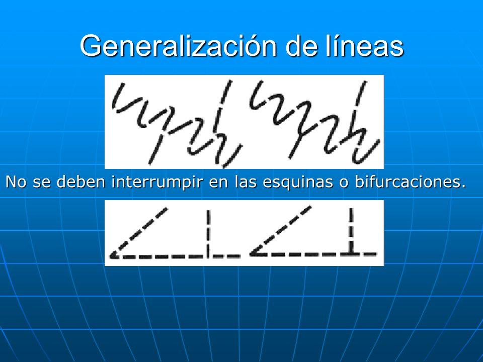 Generalización de líneas No se deben interrumpir en las esquinas o bifurcaciones.