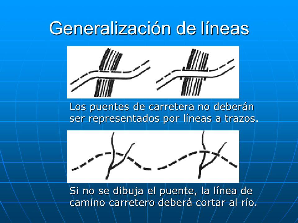Generalización de líneas Los puentes de carretera no deberán ser representados por líneas a trazos. Si no se dibuja el puente, la línea de camino carr