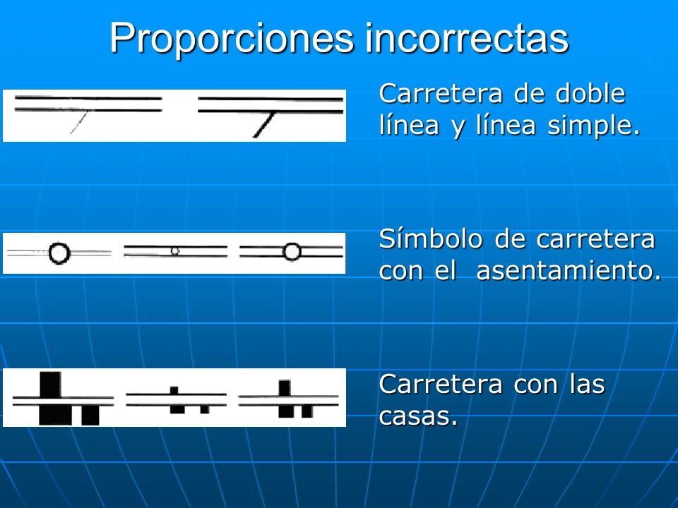 Proporciones incorrectas Carretera de doble línea y línea simple. Símbolo de carretera con el asentamiento. Carretera con las casas.