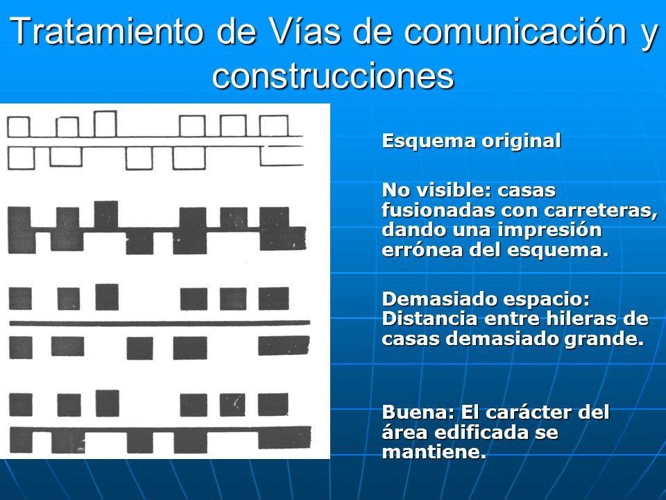 Tratamiento de Vías de comunicación y construcciones Esquema original No visible: casas fusionadas con carreteras, dando una impresión errónea del esq