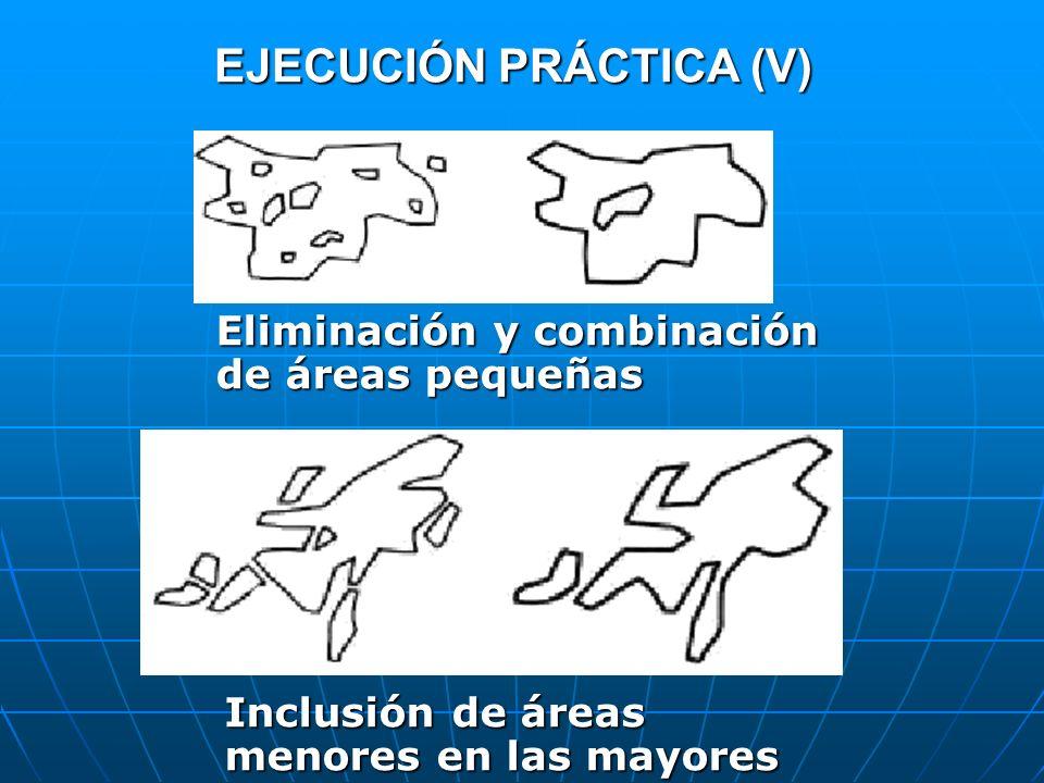 EJECUCIÓN PRÁCTICA (V) Inclusión de áreas menores en las mayores Eliminación y combinación de áreas pequeñas