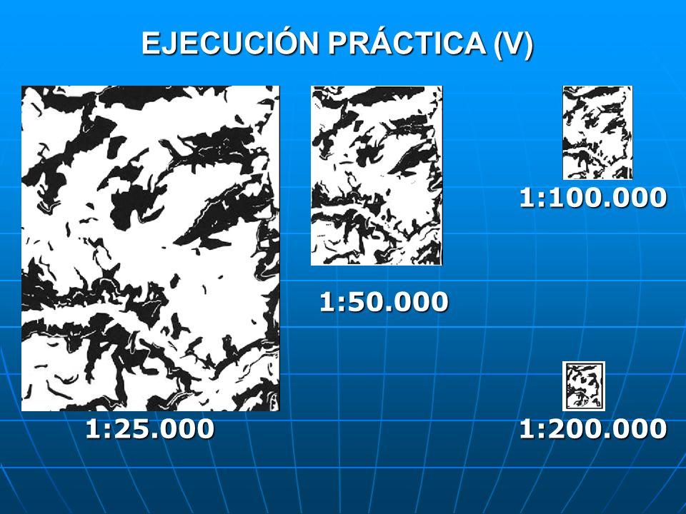 EJECUCIÓN PRÁCTICA (V) 1:25.000 1:50.000 1:100.000 1:200.000