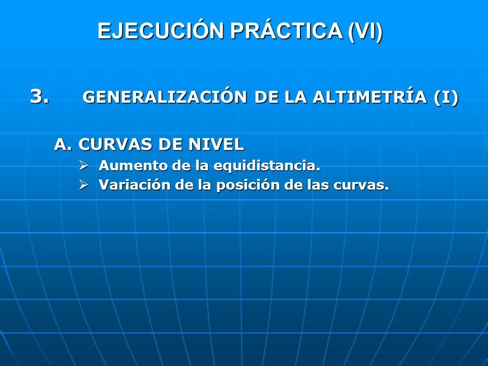 EJECUCIÓN PRÁCTICA (VI) 3. GENERALIZACIÓN DE LA ALTIMETRÍA (I) A.CURVAS DE NIVEL Aumento de la equidistancia. Aumento de la equidistancia. Variación d