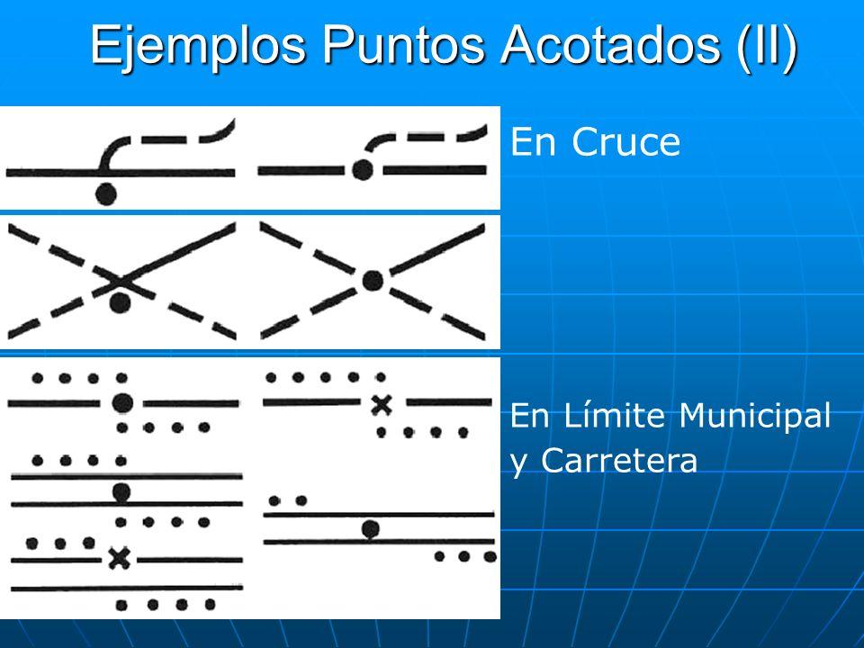 Ejemplos Puntos Acotados (II) En Cruce En Límite Municipal y Carretera