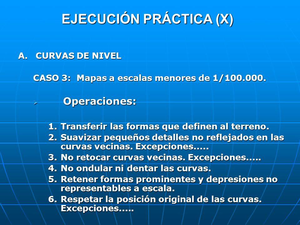 EJECUCIÓN PRÁCTICA (X) A.CURVAS DE NIVEL CASO 3: Mapas a escalas menores de 1/100.000. Operaciones: Operaciones: 1.Transferir las formas que definen a