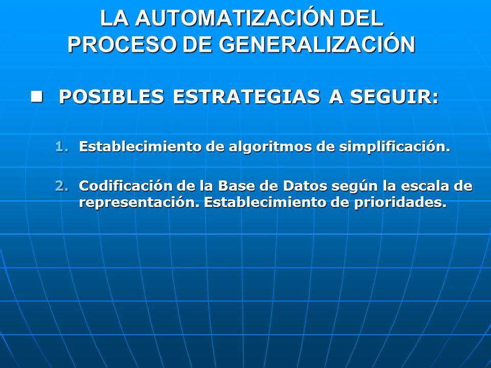 LA AUTOMATIZACIÓN DEL PROCESO DE GENERALIZACIÓN POSIBLES ESTRATEGIAS A SEGUIR: POSIBLES ESTRATEGIAS A SEGUIR: 1.Establecimiento de algoritmos de simpl