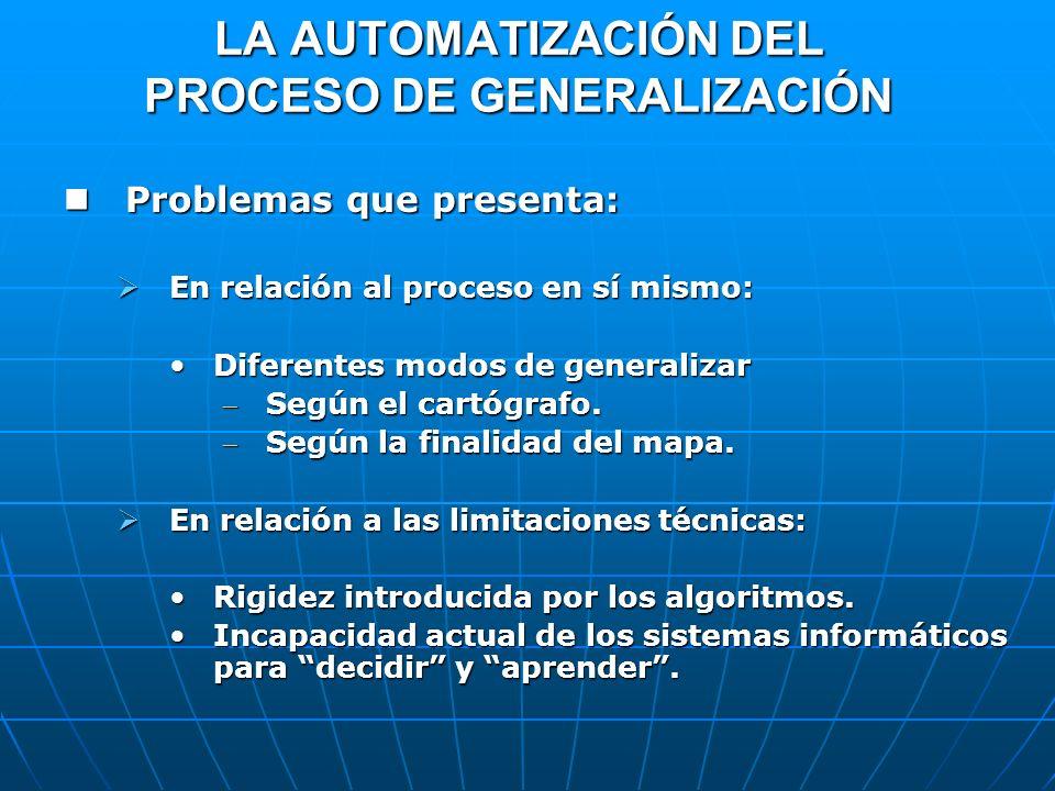 LA AUTOMATIZACIÓN DEL PROCESO DE GENERALIZACIÓN Problemas que presenta: Problemas que presenta: En relación al proceso en sí mismo: En relación al pro