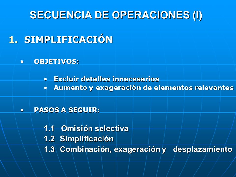 SECUENCIA DE OPERACIONES (I) 1.SIMPLIFICACIÓN OBJETIVOS:OBJETIVOS: Excluir detalles innecesariosExcluir detalles innecesarios Aumento y exageración de