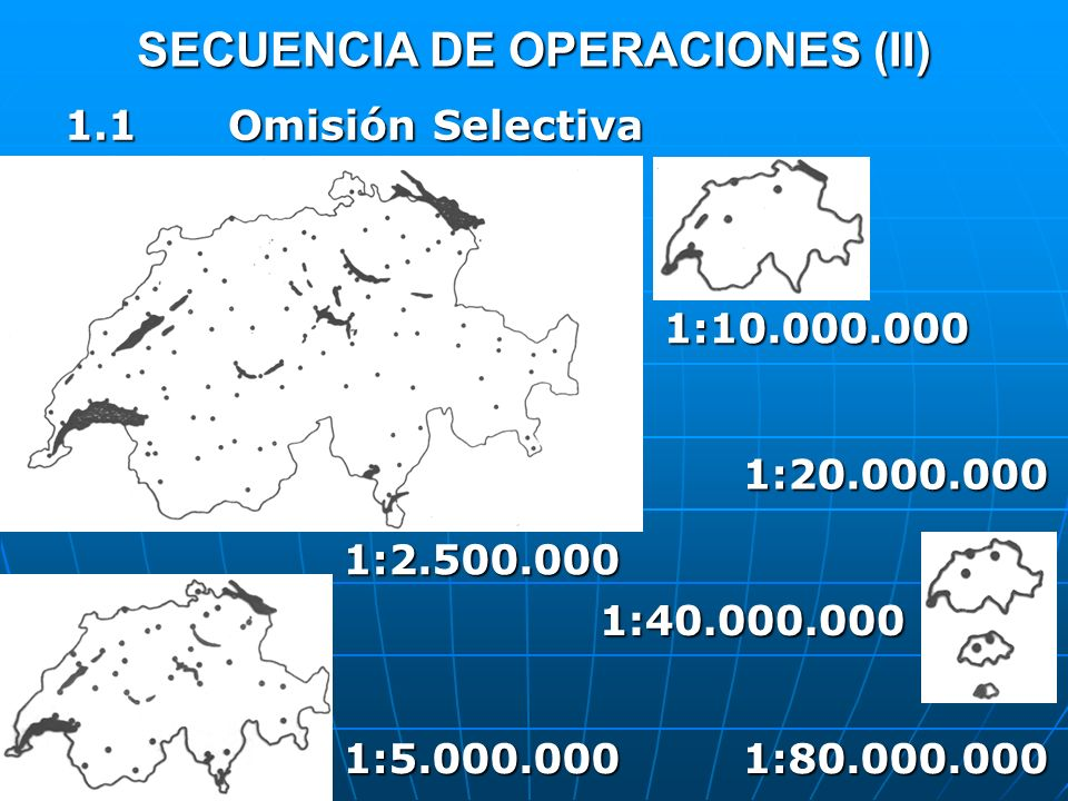SECUENCIA DE OPERACIONES (II) 1.1 Omisión Selectiva 1:2.500.000 1:5.000.000 1:10.000.000 1:20.000.000 1:80.000.000 1:40.000.000