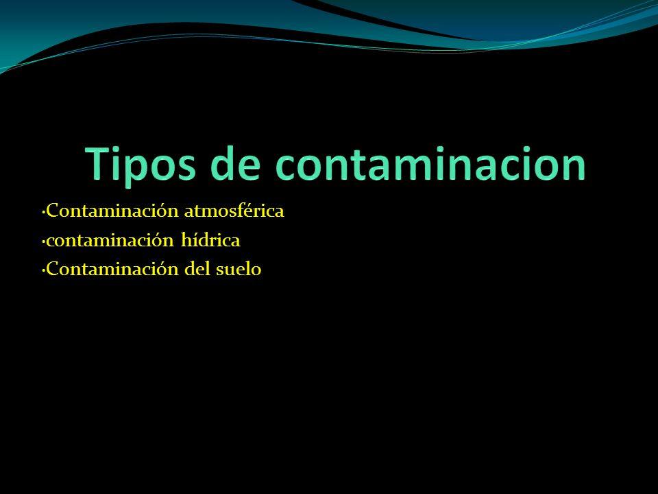·Contaminación atmosférica ·contaminación hídrica ·Contaminación del suelo