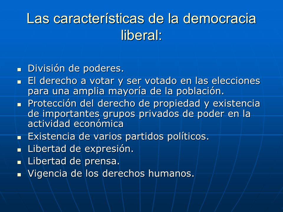 Las características de la democracia liberal: División de poderes. División de poderes. El derecho a votar y ser votado en las elecciones para una amp