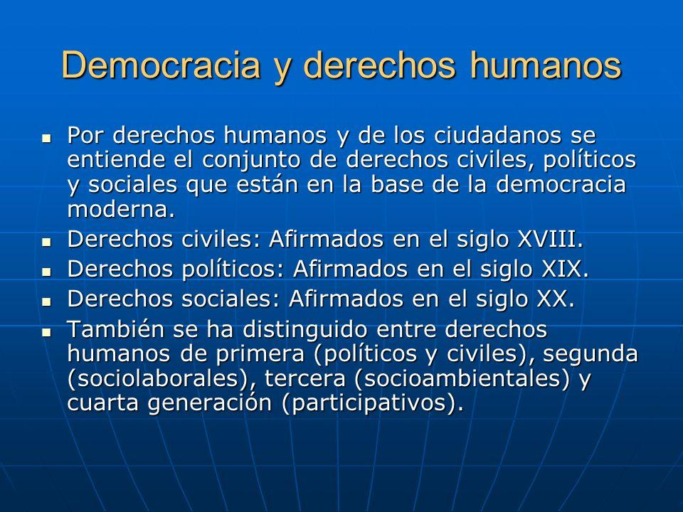 Democracia y derechos humanos Por derechos humanos y de los ciudadanos se entiende el conjunto de derechos civiles, políticos y sociales que están en