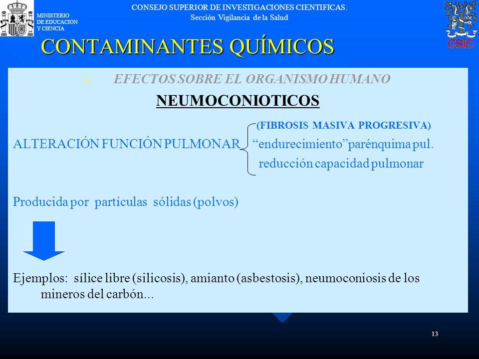 CONSEJO SUPERIOR DE INVESTIGACIONES CIENTIFICAS. Sección Vigilancia de la Salud MINISTERIO DE EDUCACION Y CIENCIA 13 CONTAMINANTES QUÍMICOS EFECTOS SO