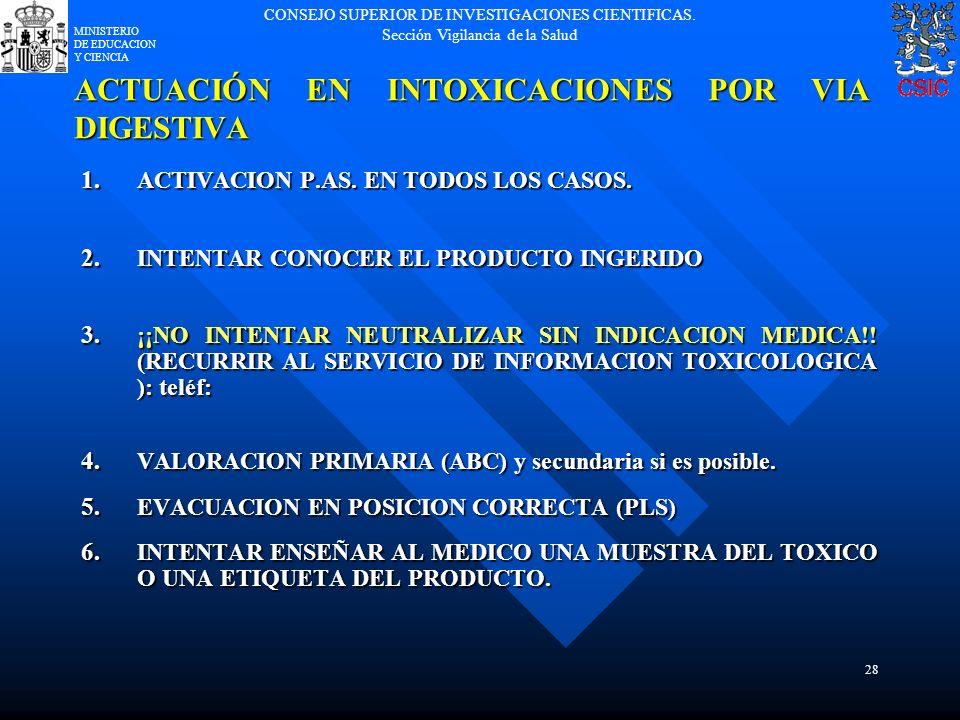 CONSEJO SUPERIOR DE INVESTIGACIONES CIENTIFICAS. Sección Vigilancia de la Salud MINISTERIO DE EDUCACION Y CIENCIA 28 ACTUACIÓN EN INTOXICACIONES POR V