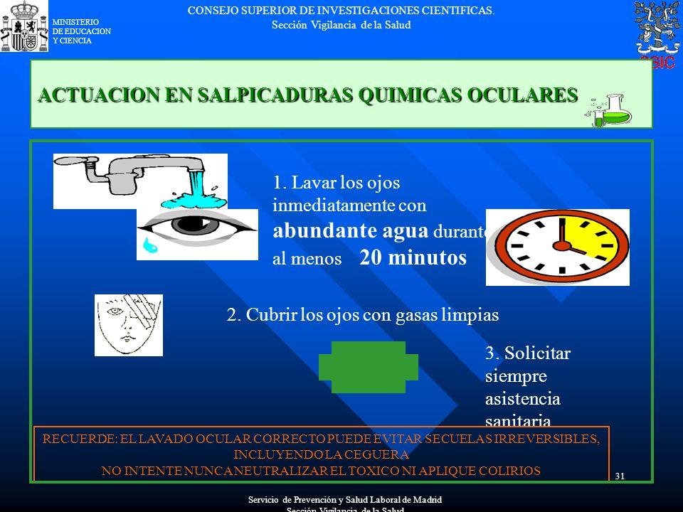 CONSEJO SUPERIOR DE INVESTIGACIONES CIENTIFICAS. Sección Vigilancia de la Salud MINISTERIO DE EDUCACION Y CIENCIA 31 ACTUACION EN SALPICADURAS QUIMICA