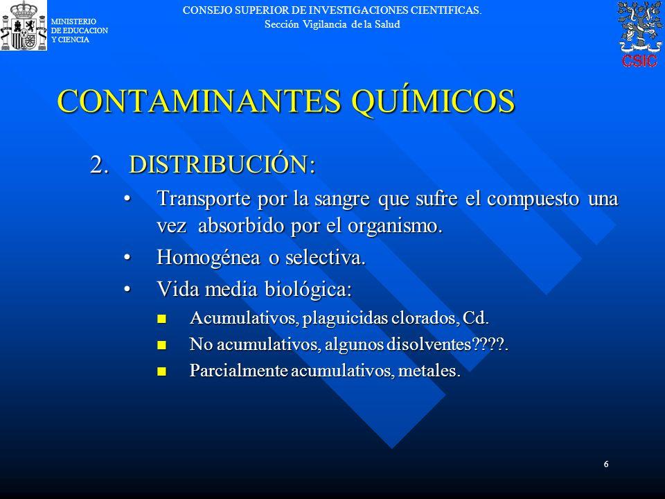 CONSEJO SUPERIOR DE INVESTIGACIONES CIENTIFICAS. Sección Vigilancia de la Salud MINISTERIO DE EDUCACION Y CIENCIA 6 CONTAMINANTES QUÍMICOS 2.DISTRIBUC