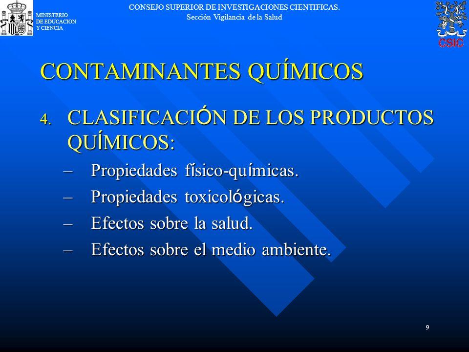 CONSEJO SUPERIOR DE INVESTIGACIONES CIENTIFICAS. Sección Vigilancia de la Salud MINISTERIO DE EDUCACION Y CIENCIA 9 CONTAMINANTES QUÍMICOS 4. CLASIFIC