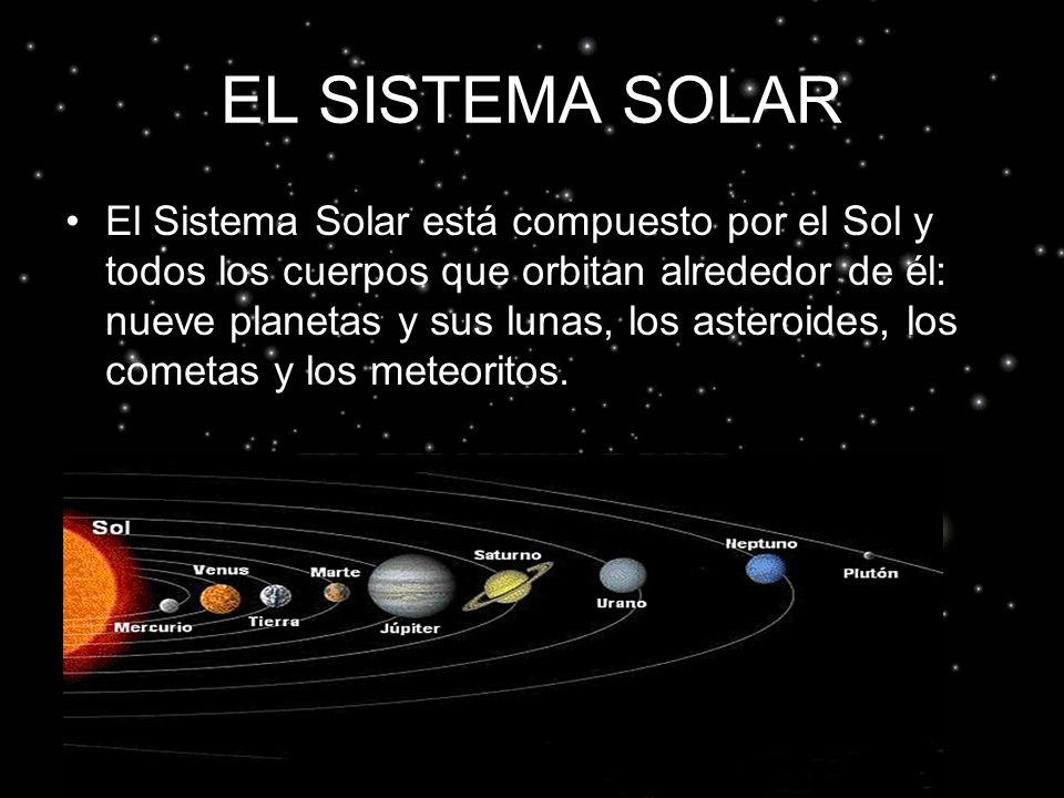 El Sistema Solar está compuesto por el Sol y todos los cuerpos que orbitan alrededor de él: nueve planetas y sus lunas, los asteroides, los cometas y