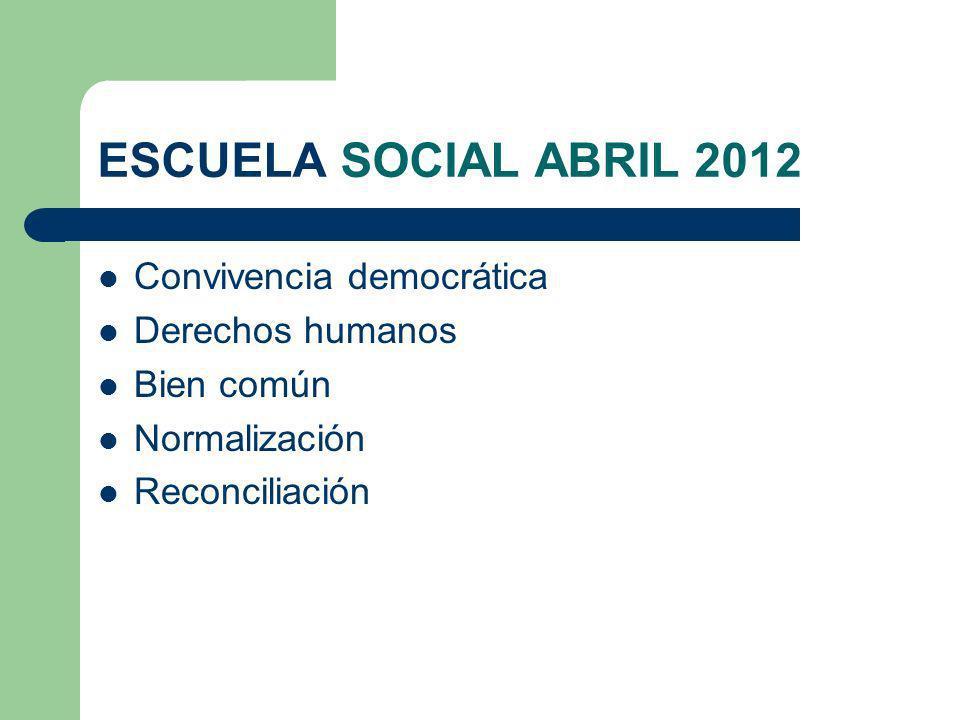 ESCUELA SOCIAL ABRIL 2012 Convivencia democrática Derechos humanos Bien común Normalización Reconciliación