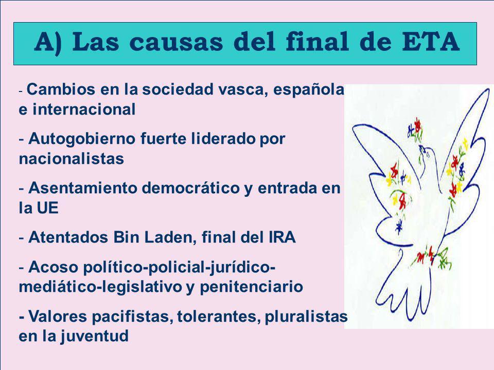 A) Las causas del final de ETA - Cambios en la sociedad vasca, española e internacional - Autogobierno fuerte liderado por nacionalistas - Asentamient