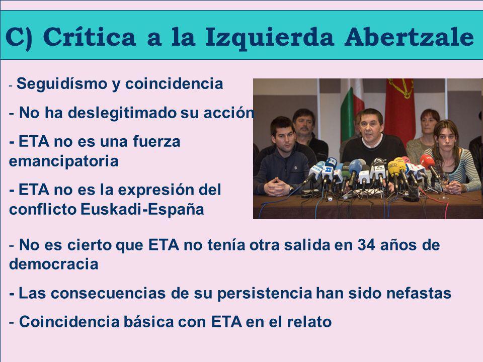C) Crítica a la Izquierda Abertzale - Seguidísmo y coincidencia - No ha deslegitimado su acción - ETA no es una fuerza emancipatoria - ETA no es la ex