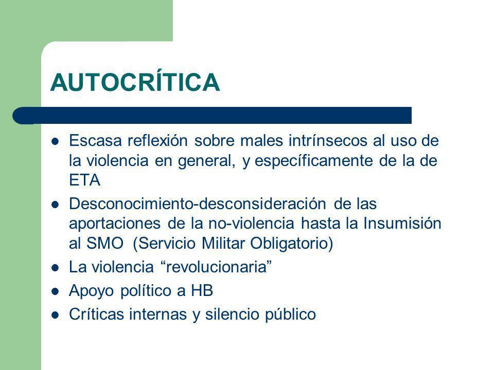 AUTOCRÍTICA Escasa reflexión sobre males intrínsecos al uso de la violencia en general, y específicamente de la de ETA Desconocimiento-desconsideració