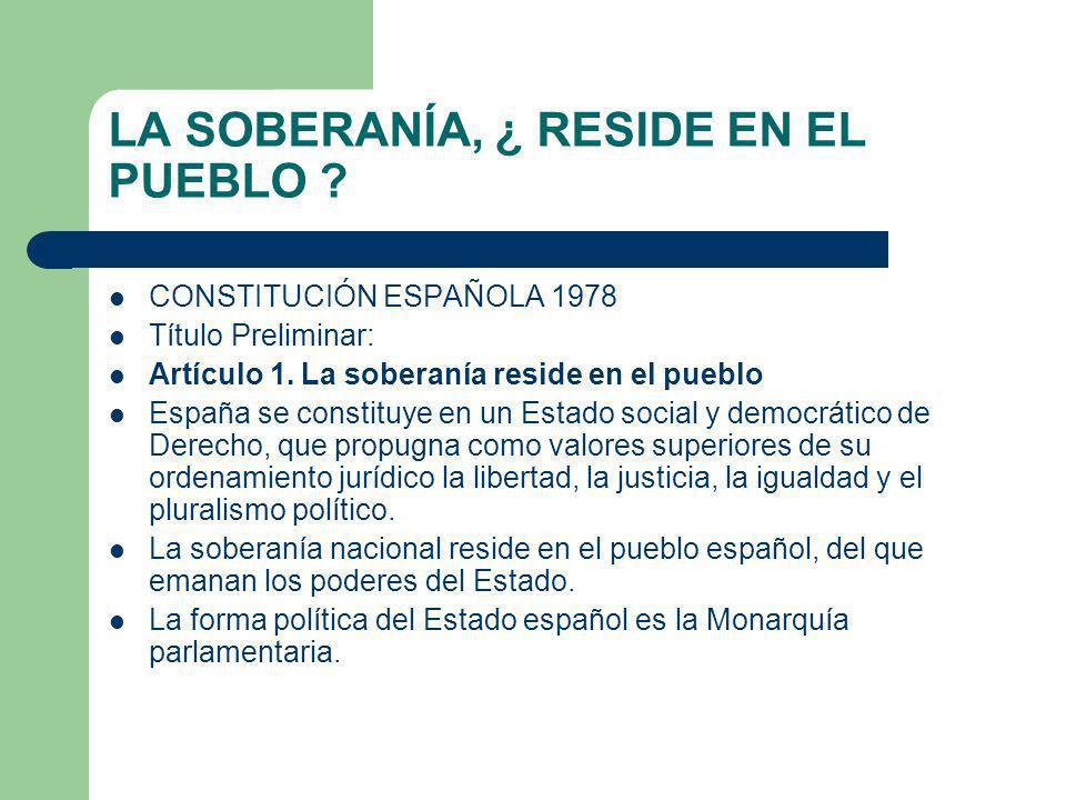 LA SOBERANÍA, ¿ RESIDE EN EL PUEBLO ? CONSTITUCIÓN ESPAÑOLA 1978 Título Preliminar: Artículo 1. La soberanía reside en el pueblo España se constituye