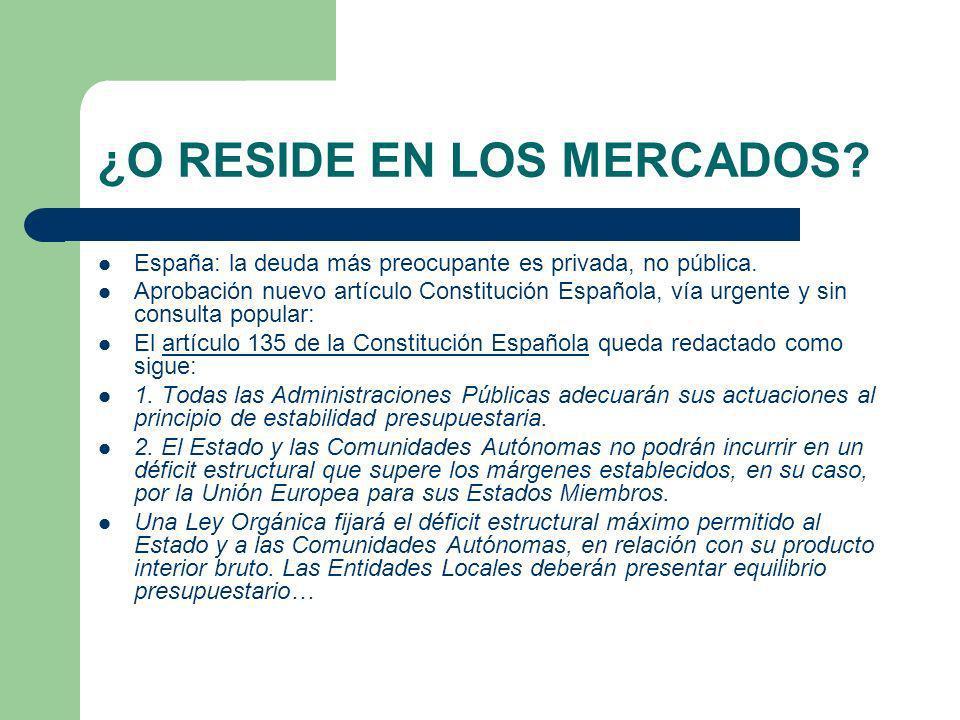 ¿O RESIDE EN LOS MERCADOS? España: la deuda más preocupante es privada, no pública. Aprobación nuevo artículo Constitución Española, vía urgente y sin