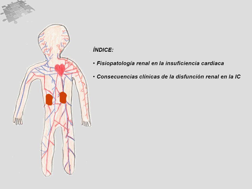 ÍNDICE: Fisiopatología renal en la insuficiencia cardiaca Consecuencias clínicas de la disfunción renal en la IC